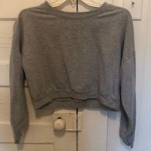 Grey cropped American Apparel sweatshirt